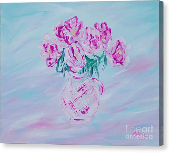 Elegant Bouquet Of Peonies. Joyful Gift. Thank You Collection Canvas Print