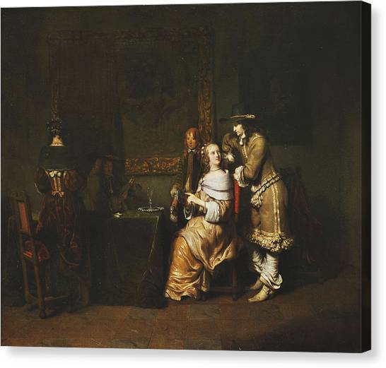 Baroque Art Canvas Print - Elegant Company Playing Cards In An Interior by Gerbrandt van den Eeckhout