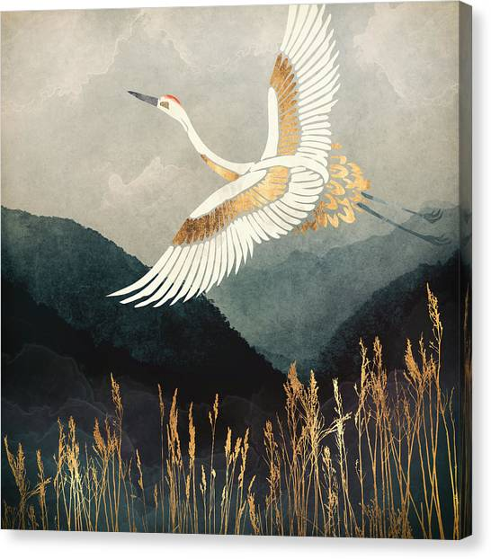 Cranes Canvas Print - Elegant Flight by Spacefrog Designs