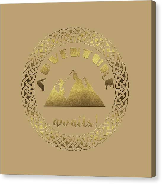 Canvas Print featuring the digital art Elegant Gold Foil Adventure Awaits Typography Celtic Knot by Georgeta Blanaru