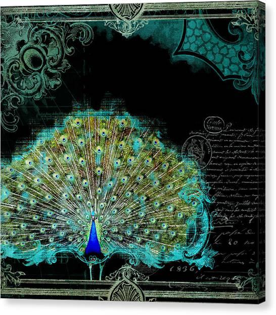 Printers Canvas Print - Elegant Peacock W Vintage Scrolls 3 by Audrey Jeanne Roberts