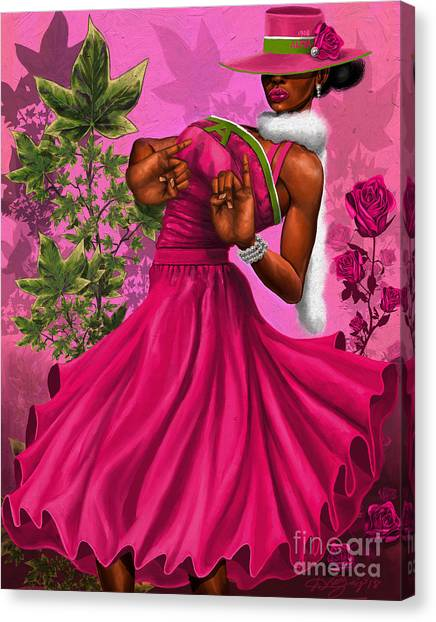 Sorority Canvas Print - Elegant Pink And Green by The Art of DionJa'Y