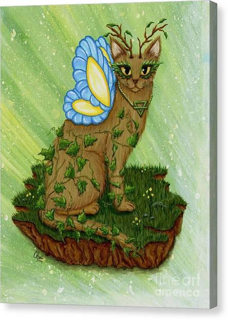 Elemental Earth Fairy Cat Canvas Print