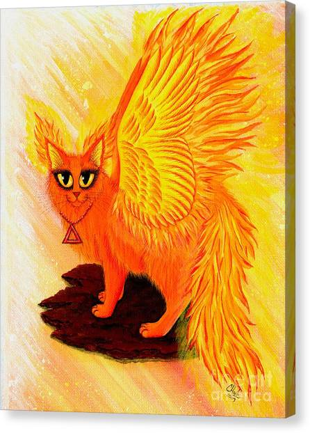 Elemental Fire Fairy Cat Canvas Print