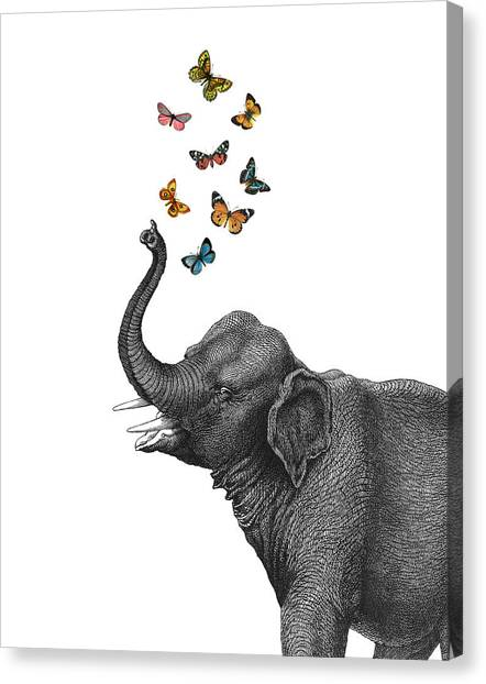 Yellow Butterfly Canvas Print - Elephant Blowing Butterflies From His Trunk by Madame Memento