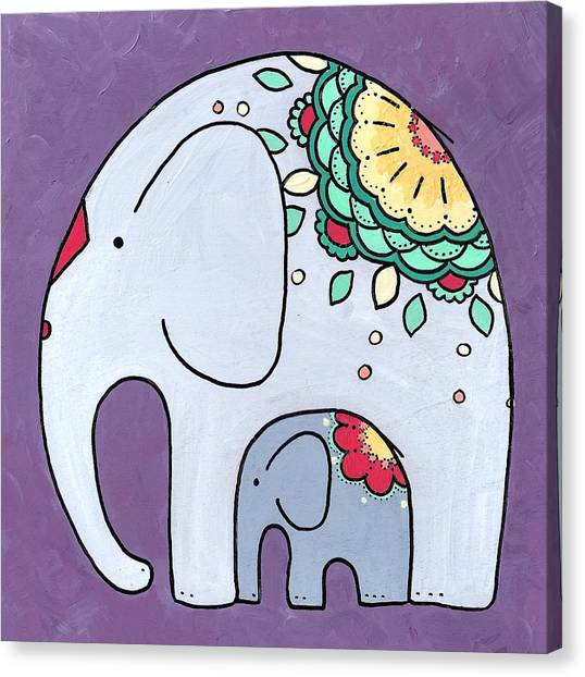 Elephant And Child - On Purple Canvas Print