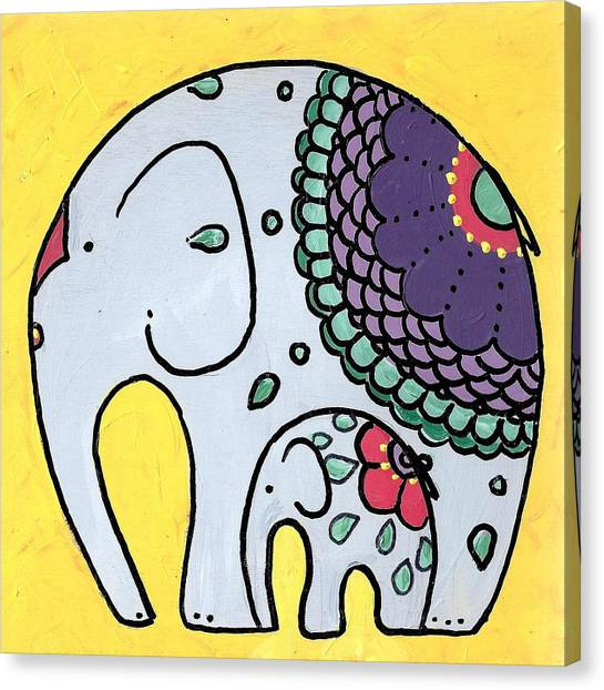 Elephant And Child On Yellow Canvas Print