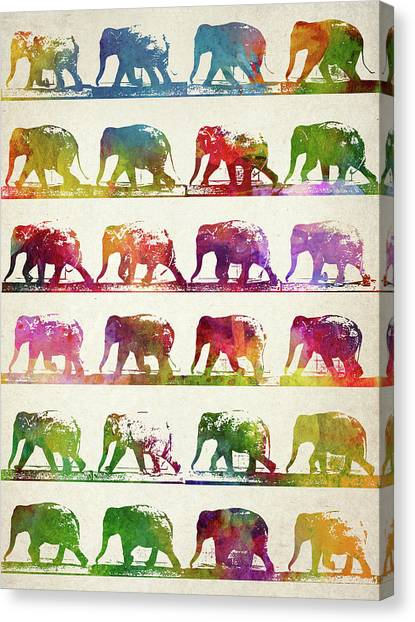 Vintage Canvas Print - Elephant Animal Locomotion  by Aged Pixel