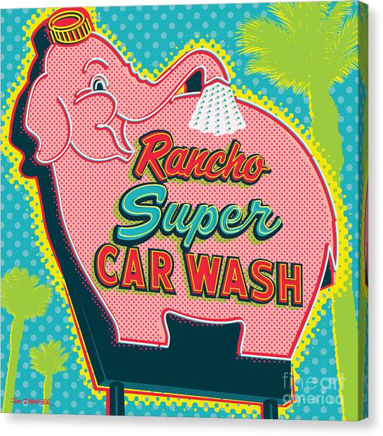 Mirage Canvas Print - Elephant Car Wash - Rancho Mirage - Palm Springs by Jim Zahniser