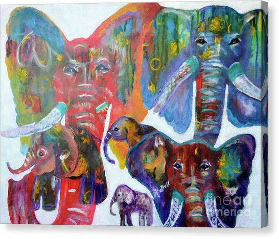 Canvas Print featuring the painting Elephant Family by Claire Bull