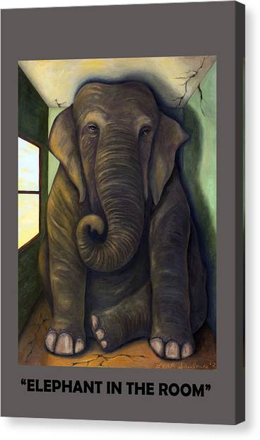 Elephant In The Room With Lettering Canvas Print
