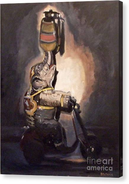 Elephant On Wheels Canvas Print by Deb Putnam