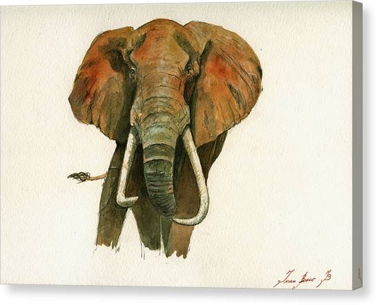 Elephants Canvas Print - Elephant Painting           by Juan  Bosco