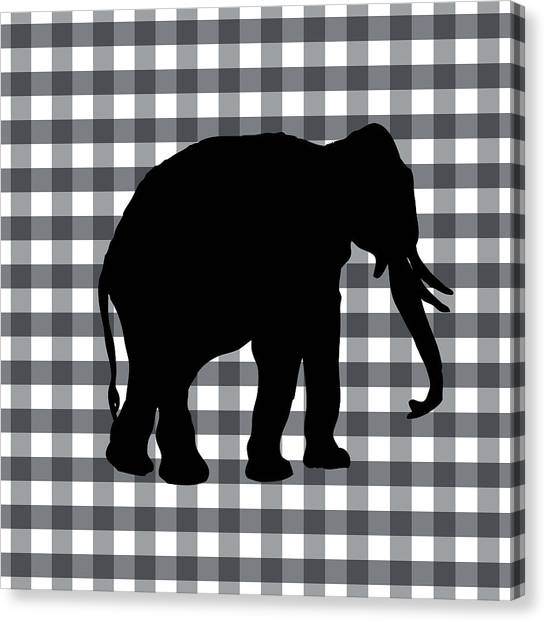 Country Canvas Print - Elephant Silhouette by Linda Woods