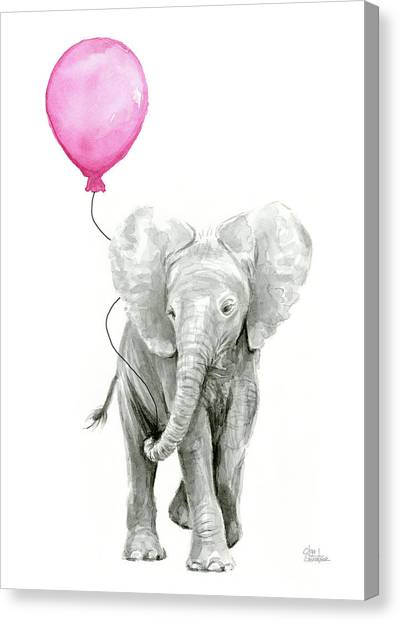Pink Canvas Print - Baby Elephant Watercolor  by Olga Shvartsur