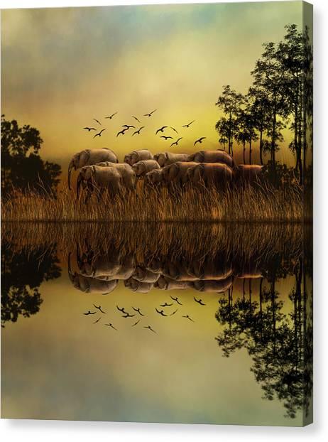 Elephants At Sunset Canvas Print