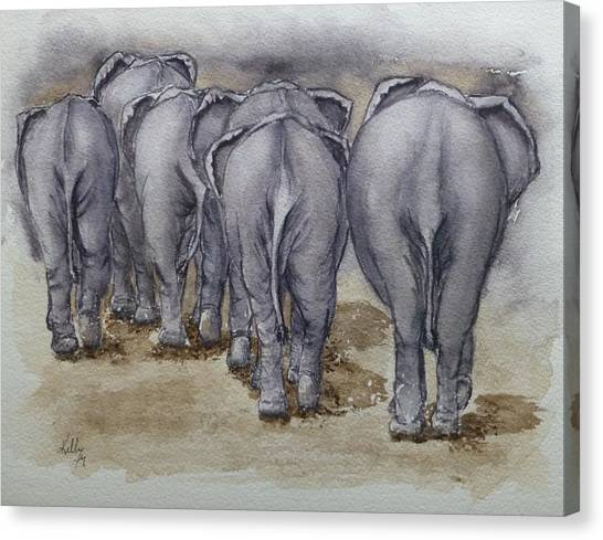 Elephants Leaving...no Butts About It Canvas Print