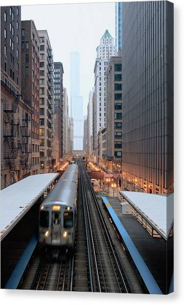 Train Canvas Print - Elevated Commuter Train In Chicago Loop by Photo by John Crouch