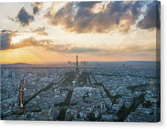 Paris Skyline Canvas Print - Elevated View Of Paris At Sunset by James Udall