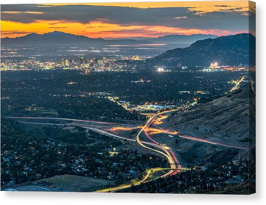 City Sunsets Canvas Print - Elevated View Of Salt Lake City After Sunset by James Udall