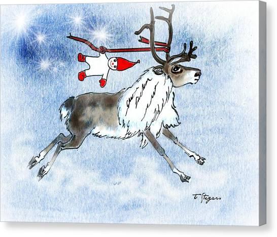 Elf And Reindeer Canvas Print