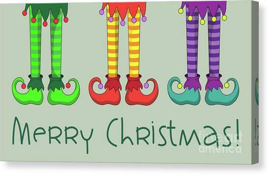 Pom-pom Canvas Print - Elf Legs by Jane Rix