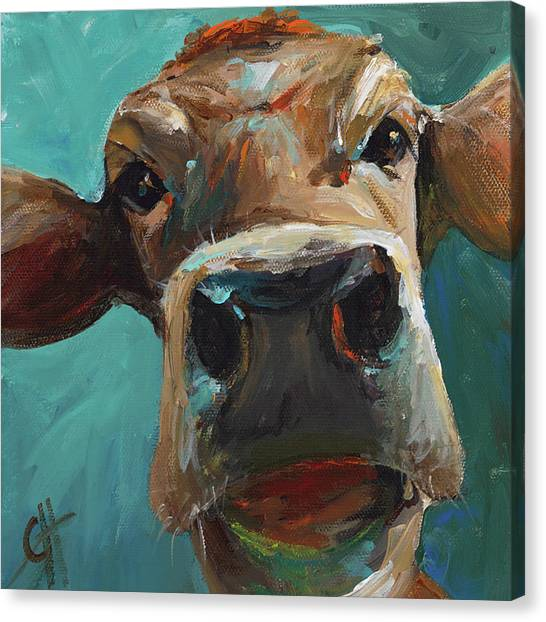 Impressionistic Canvas Print - Elise The Cow by Cari Humphry