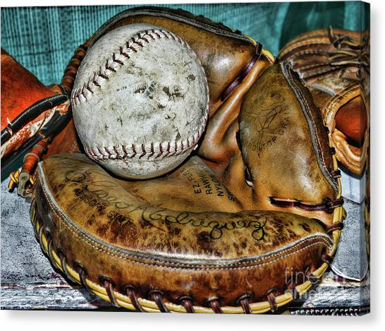 Milwaukee Brewers Canvas Print - Eliseo Rodriguez Catchers Mitt by Paul Ward