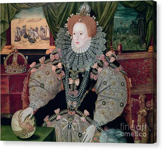 Queen Elizabeth Canvas Print - Elizabeth I Armada Portrait by George Gower