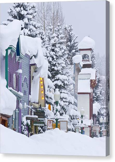 Elk Avenue Snow Canvas Print by Dusty Demerson