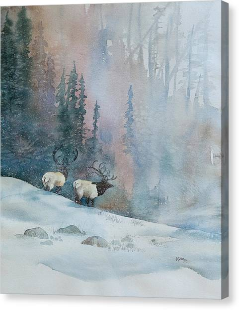 Elk In Winter Canvas Print