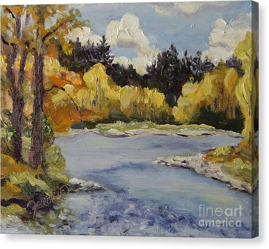 Elk River Fall Steamboat Springs Colorado Canvas Print by Zanobia Shalks