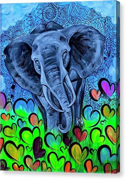 Hearts Canvas Print - Elley  by Artist RiA