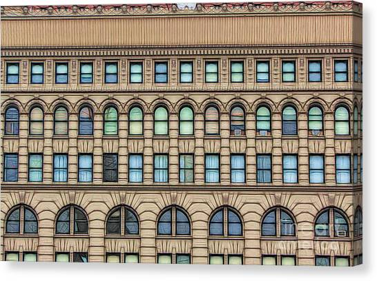 Canvas Print featuring the photograph Ellicott Square Building Buffalo Ny Ink Sketch Effect by Rose Santuci-Sofranko