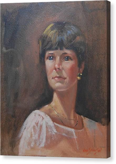 Gold Earrings Canvas Print - Ellie Mae 2 by Len Stomski