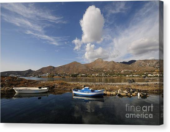 Greek Art Canvas Print - Elounda, Crete by Smart Aviation