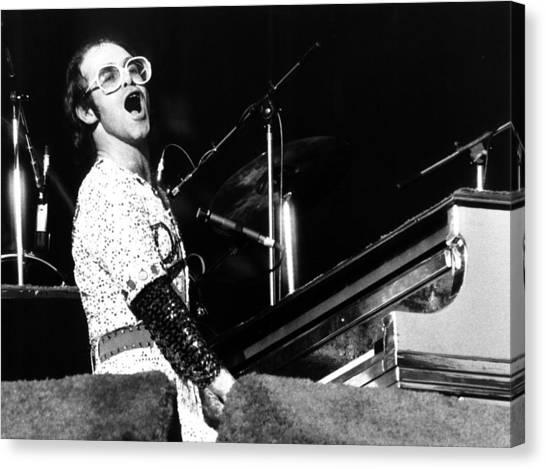 Elton John Canvas Print - Elton John 1975 Dodger Stadium by Chris Walter