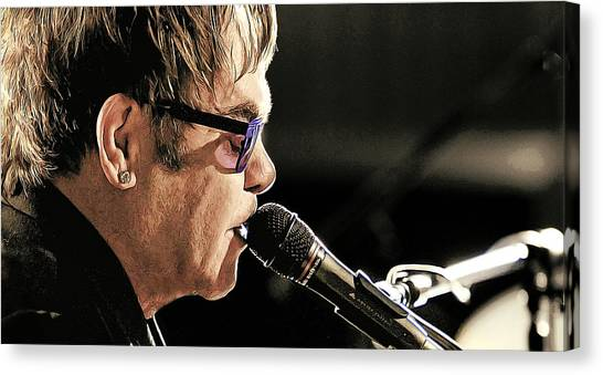 Elton John Canvas Print - Elton John At The Mic by Elaine Plesser