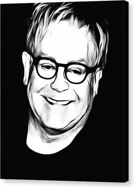 Elton John Canvas Print - Elton John Black And White by Yury Malkov