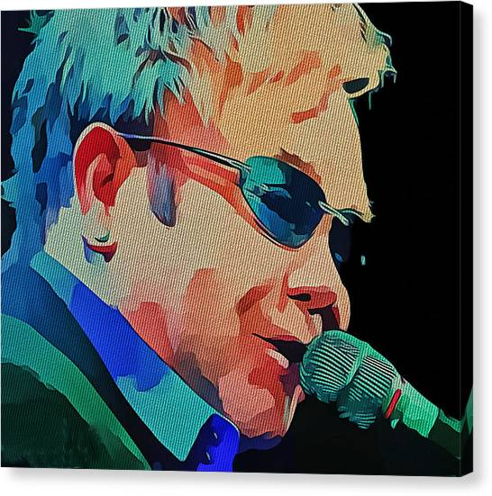 Elton John Canvas Print - Elton John Blue Eyes Portrait 2 by Yury Malkov