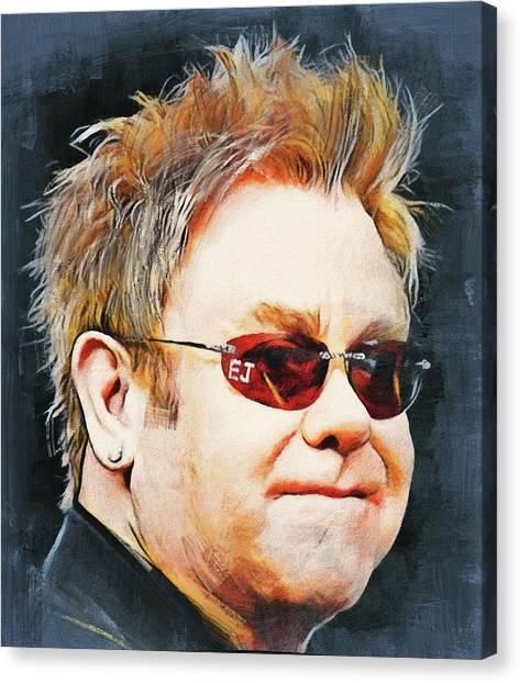 Elton John Canvas Print - Elton John Classic Portrait by Yury Malkov