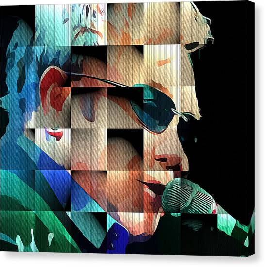 Elton John Canvas Print - Elton John In Cubes 1 by Yury Malkov