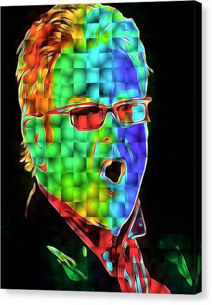 Elton John Canvas Print - Elton John In Cubes 2 by Yury Malkov