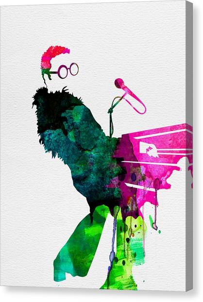 Classical Guitars Canvas Print - Elton Watercolor by Naxart Studio