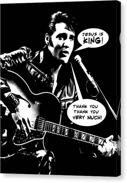 Rock And Roll Canvas Print - Elvis Presley Final Tribute by Lucky Chen