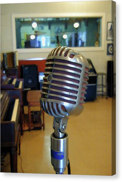 Canvas Print featuring the photograph Elvis Presley Microphone by Mark Czerniec