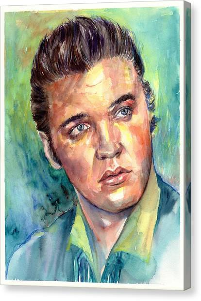 Elvis Canvas Print - Elvis Presley Portrait by Suzann Sines