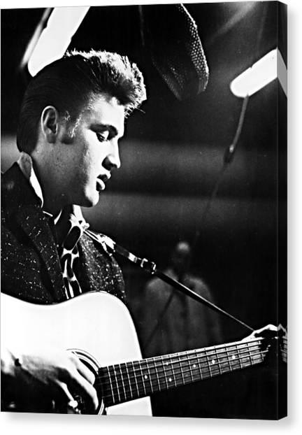 1950s Fashion Canvas Print - Elvis Presley, Recording In The Studio by Everett