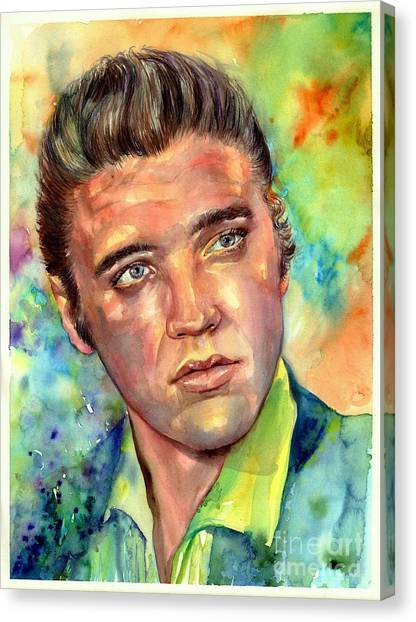 Elvis Canvas Print - Elvis Presley Watercolor by Suzann Sines