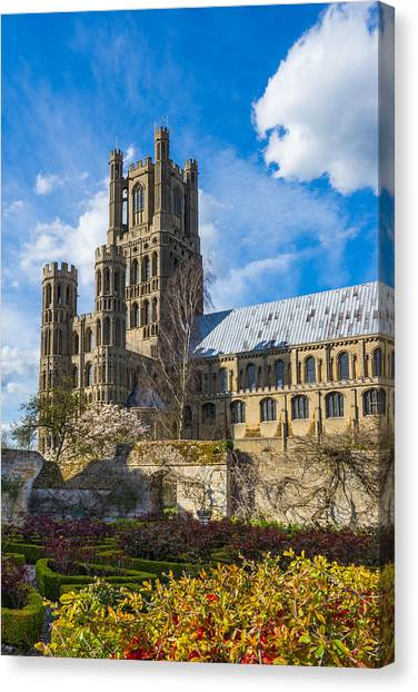 Canvas Print featuring the photograph Ely Cathedral And Garden by James Billings